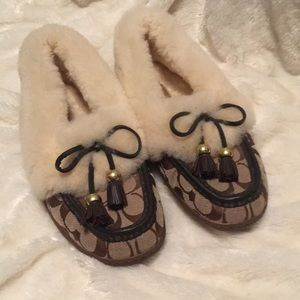 Coach Brown Fiona Slippers, Size 8B